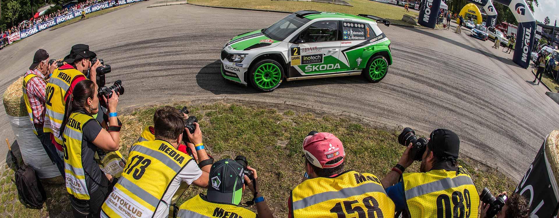 PHOTO: ŠKODA Fabia R5 cars at the Rallye Český Krumlov