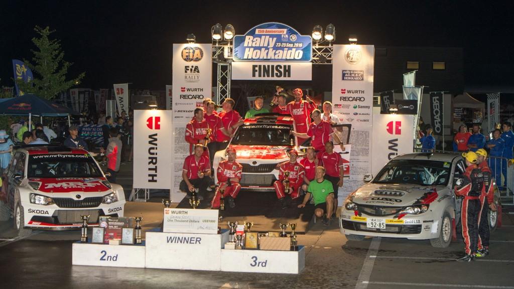 Podium, ŠKODA FABIA R5, Team MRF. Rally Hokkaido 2016