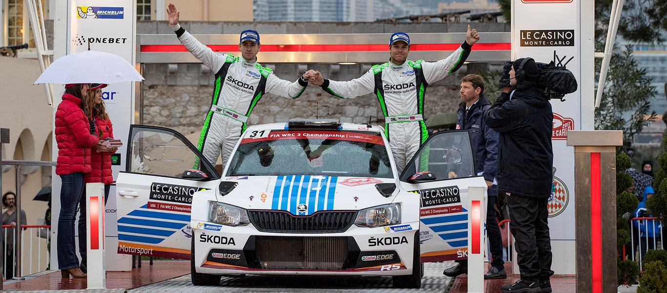 VIDEO: Dvojité vítězství týmu ŠKODA Motorsport na Rallye Monte Carlo