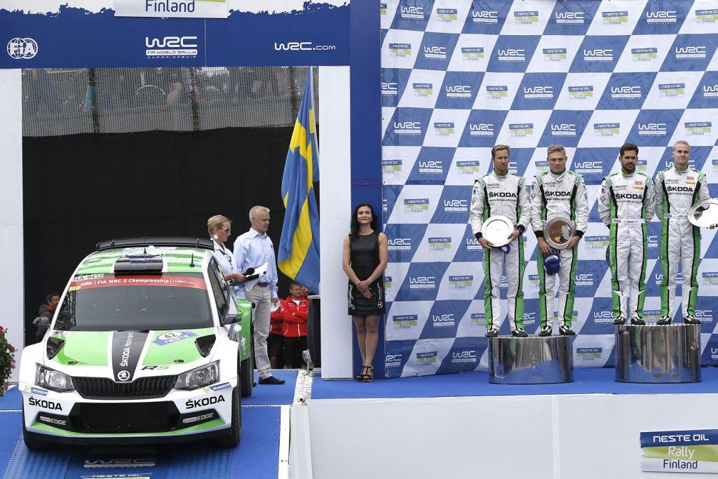 Esapekka Lappi / Janne Ferm, Pontus Tidemand / Emil Axelsson, ŠKODA FABIA R5, ŠKODA Motorsport. Rally Finland 2015