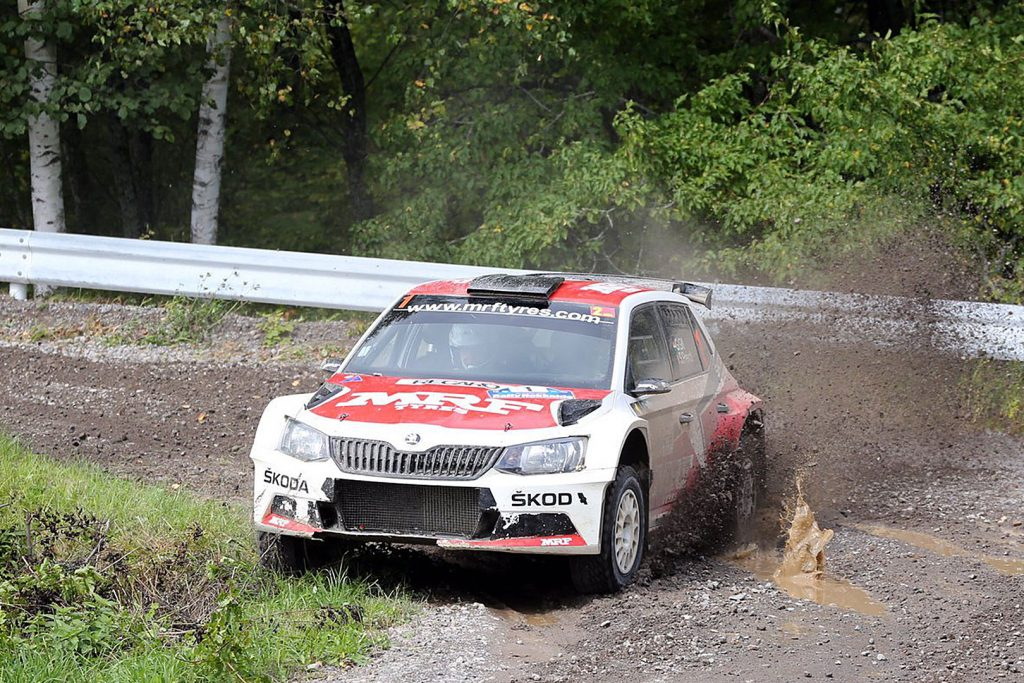 Gaurav Gill / Stéphane Prévot, ŠKODA FABIA R5, ŠKODA Team MRF. Rally Hokkaido 2017 (Photo: Racetorque / Darshan Chokhani)