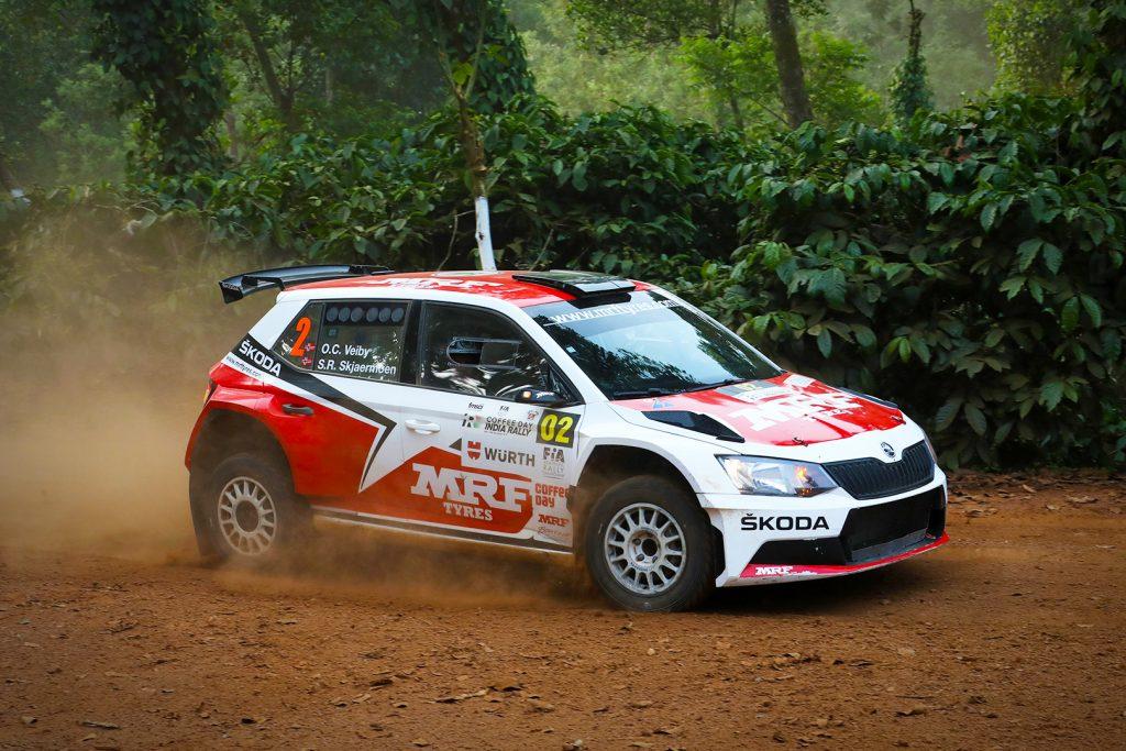 Ole Christian Veiby / Stig Rune Skjærmoen, ŠKODA FABIA R5, ŠKODA Team MRF. India Rally 2017