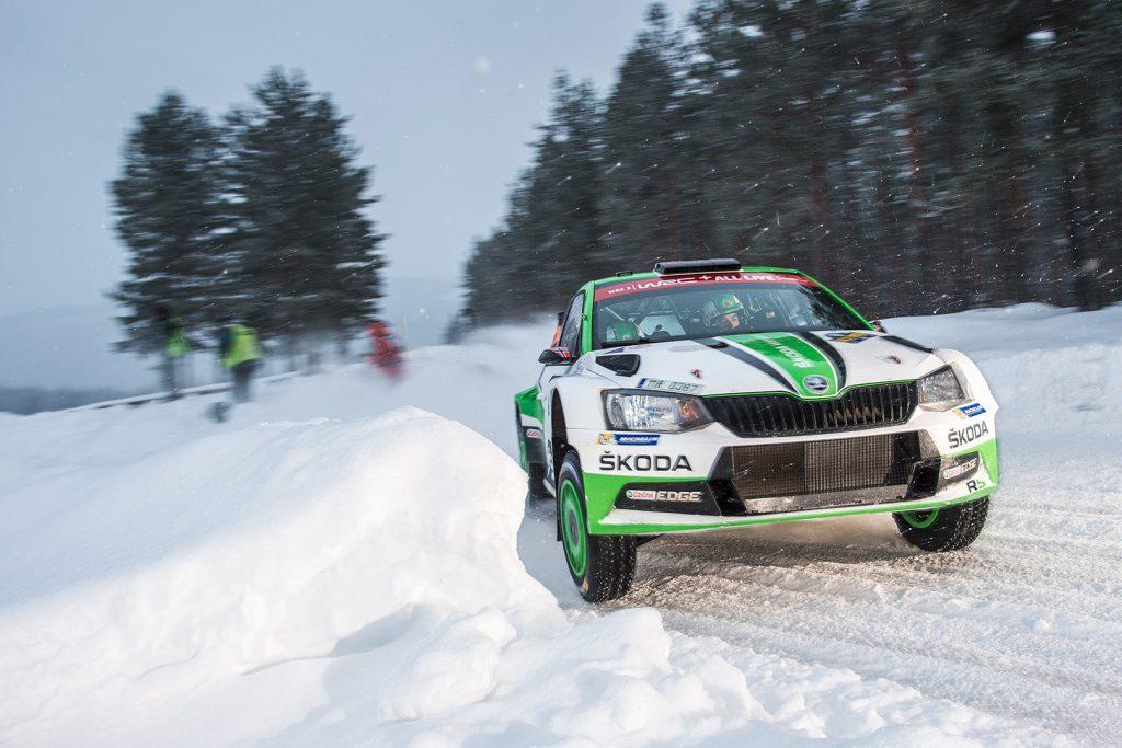 Ole Christian Veiby / Stig Rune Skjærmoen, ŠKODA FABIA R5, ŠKODA Motorsport. Rally Sweden 2018