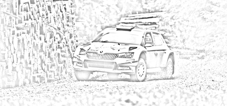 Stáhněte si omalovánky s vozem ŠKODA FABIA Rally2 evo